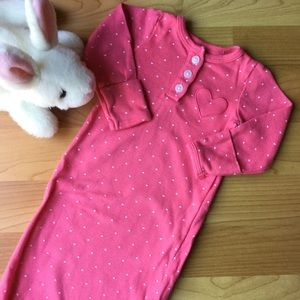 Carters Sleeper Gown Pink White Hearts Nightgown